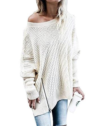 Dreamskull Strickpullover Strickpulli Grob Strick Pullover Pulli  Longpullover Oberteil Tunika Tops Sweater Bluse Damen Frauen Lang 354ffa0768