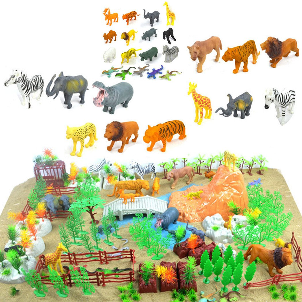 a27c7fa988 200 Pieces Wild Animal Toys Solid Figures Plastic Toy Zoo Farm Jungle  Animals Playset  Amazon.co.uk  Toys   Games