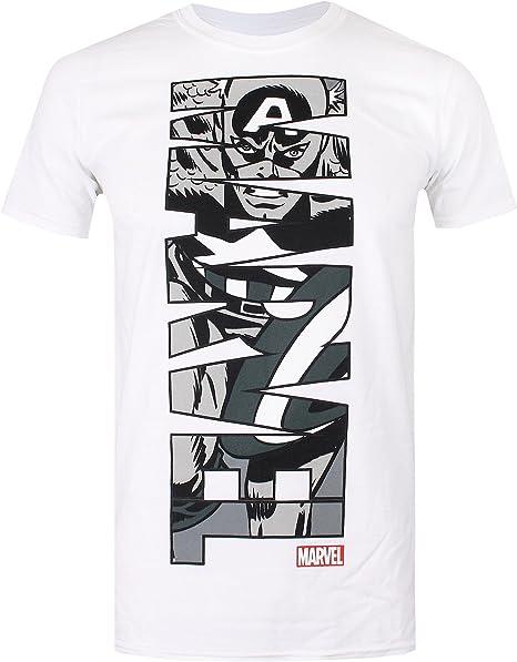 Marvel Captain America Vertical Camiseta para Hombre: Amazon.es: Ropa y accesorios