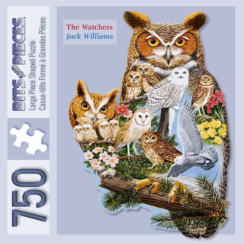 Bits and Pieces - 750 Piece Shaped Puzzle - The Watchers, Owl - by Artist Jack Williams - 750 pc Jigsaw