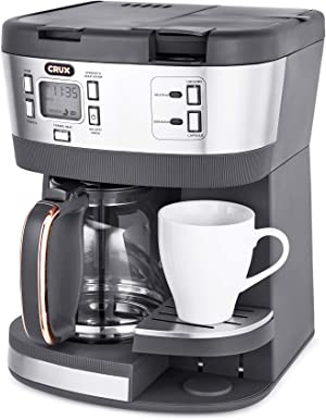 CRUX (14813) Triple Infusion Brew Programmable Coffee Maker for 12 Cup Carafe or Single Serve K-Cups
