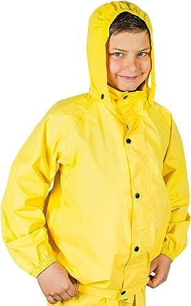Children Kids WaterProof Vinyl Rain Poncho Jacket Coat YELLOW