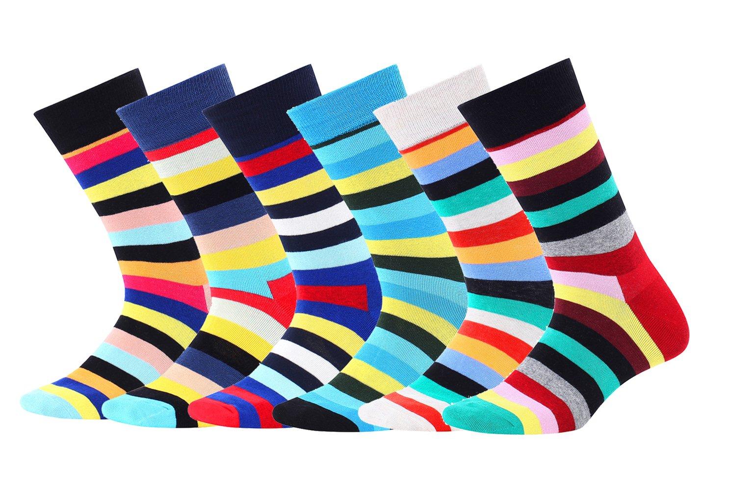 Socks for Men,Yozai Men's 6 PK Fun & Funky Colorful Cotton Dress Socks Striped Size 7-12
