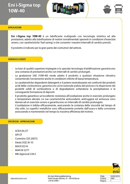ENI i-Sigma 10W/40 topda 20 l: Amazon.es: Coche y moto
