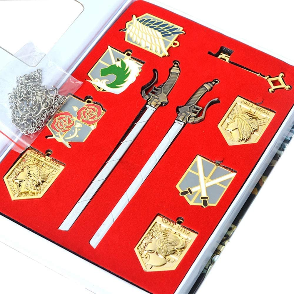 7pcs Attack on Titan Shingeki no Kyojin Badge Blade swords Necklace Pendant