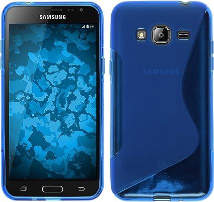 PhoneNatic Coque en Silicone Compatible avec Samsung Galaxy J3 - S-Style Bleu - Cover Cubierta Films de Protection