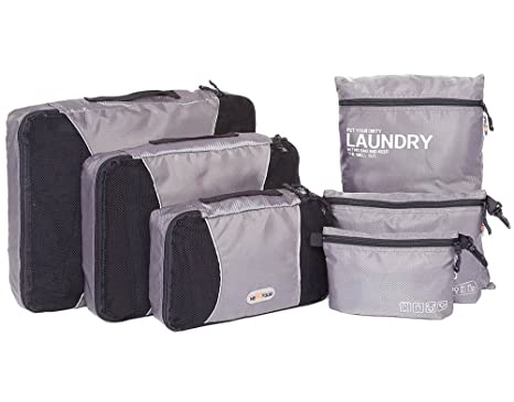 eafa376b22d5 Packing Cube 6 Set Waterproof Travel Storage Bag Mesh Compression Luggage  Organizer Light Various Size With Clothes Laundry Bag Toiletry Pouch For ...