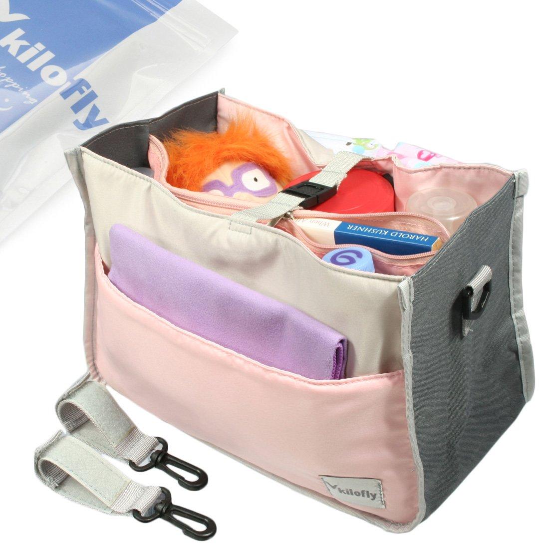 kilofly 2-in-1 Baby Diaper Bag Insert Stroller Organizer 2 Attachable Straps