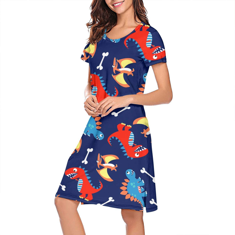 Uniluckie Sleepwear Womens Nightgown 3D Dinosaur Light Print Scoopneck Nightwear