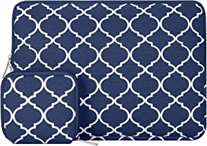 MOSISO Laptop Sleeve Compatible with 13-13.3 inch MacBook Pro, MacBook Air, Notebook Computer, Canvas Quatrefoil Bag Cover with Small Case, Navy Blue