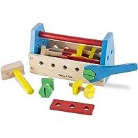 Melissa & Doug Juego de kit de herramientas de madera para llevar, juego de imitación, construcción robusta de madera, fomenta múlttiples habilidades de desarrollo, 25.146 cm alto x 13.97 cm ancho x 12.192 cm largo