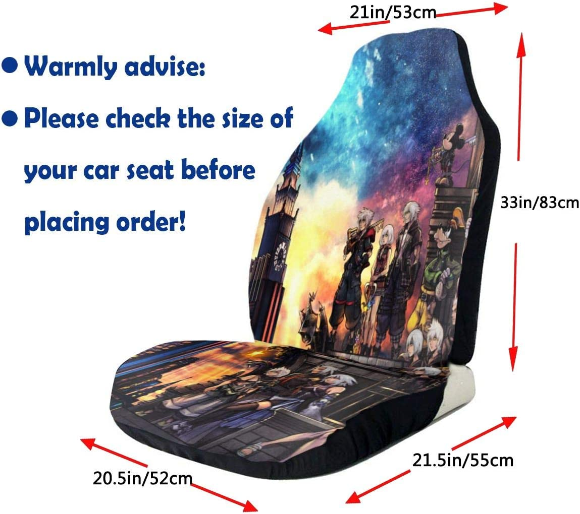Midbeauty Car Seat Kingdom Hearts Front Car Seat Covers Set Vehicle Seat Protector Car Mat Covers