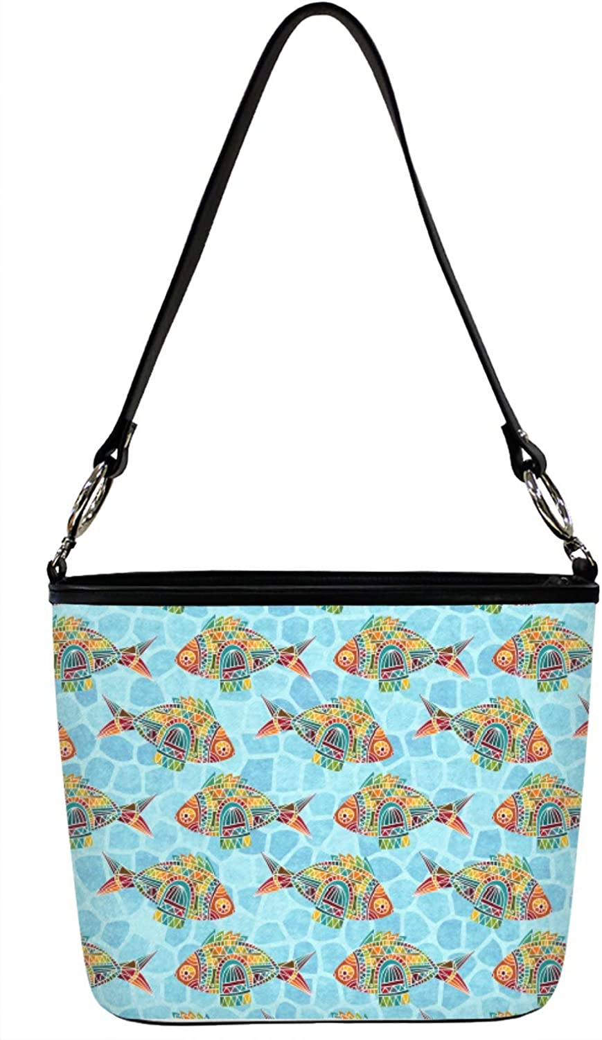 Front Mosaic Fish Bucket Bags w//Genuine Leather Trim Large Personalized