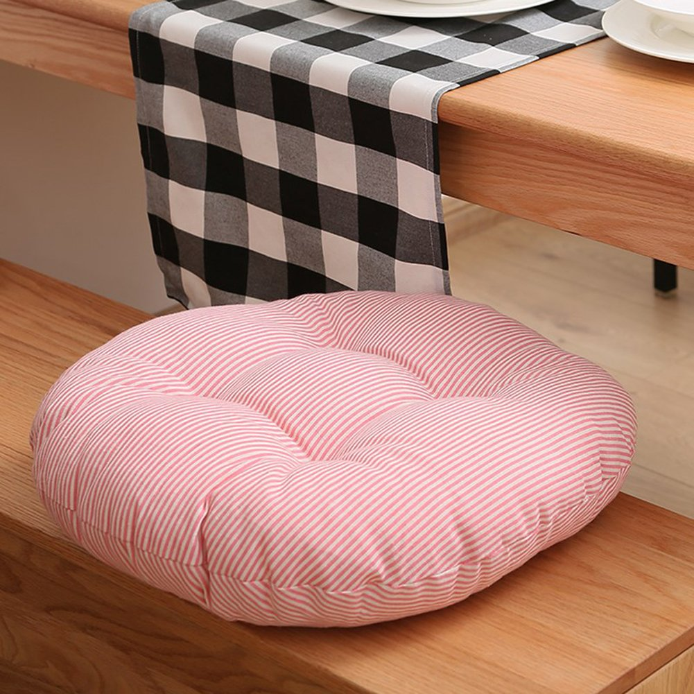 MEMORECOOL LIGHT UP YOUR HOME Pure Color Cotton Linen Round Floor Pillow Cushion, Japanese Futon Seat Cushion Thicken Chair Wave Window Pad 18 Inch, Pink Stripe Set of 2