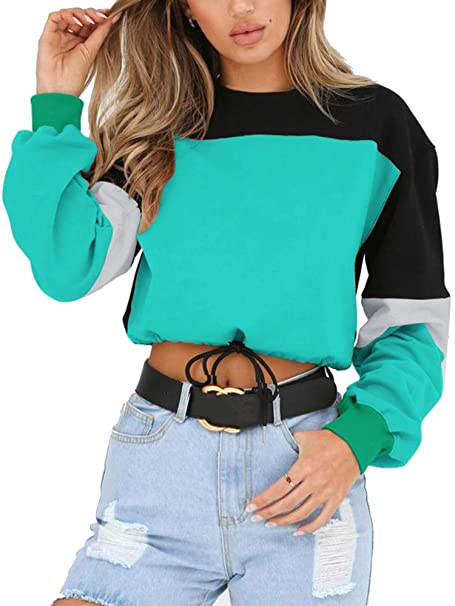 68abdc9fab6d Angashion Womens Sweatshirt-Long Sleeve Drawstring Hem Color Block Crop Top  Pullover Tops Green S