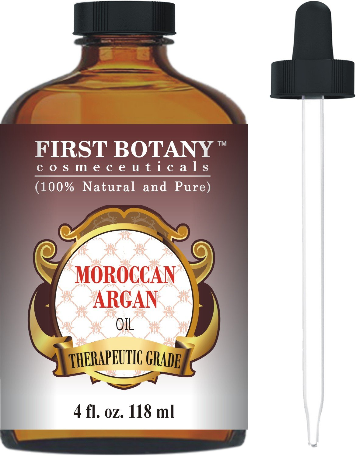 Moroccan Organic Argan Oil For Hair, Skin, Face, Nails, Cuticles & Beard 4 fl. oz. - Best Anti-Aging, Anti-Wrinkle, Triple Extra Virgin & Cold Pressed Moisturizer First Botany Cosmeceuticals