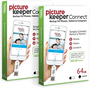 iPhone Smart USB Flash Drive 64GB [Apple MFI Certified] Picture Keeper Connect - Lightning Memory Expansion Backup for Apple iOS (2-Pack Bundle)
