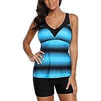 aa6b8d5c374fc Grace's Secret Swimsuits for Women Criss Cross Two Piece Tankini Top with  Boyshorts S-XXXL