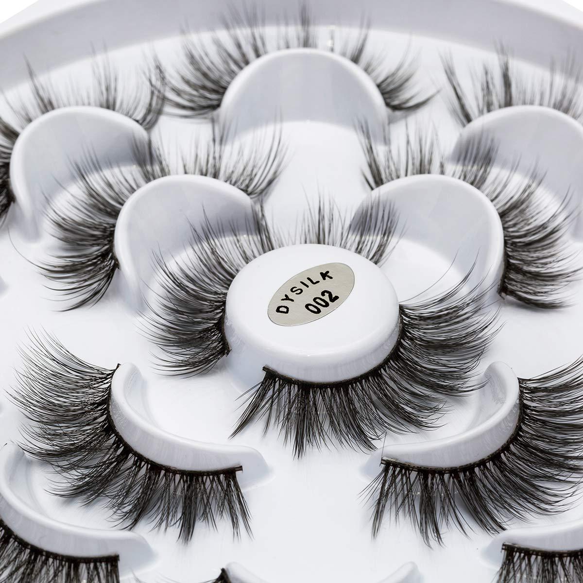 DYSILK 7 Pairs False Eyelashes 3D Fake Eyelashes Dramatic Look Eyelashes Makeup Long Handmade Soft Thick Lashes Extension Fluffy Resuable Black