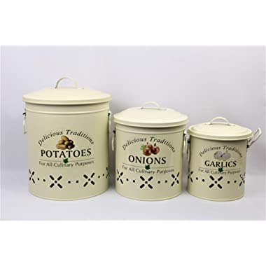 Metal Food Storage Crocks. Set of 3-Onions, Potatoes and Garlic Kitchen storage Canisters (MATT IVORY)