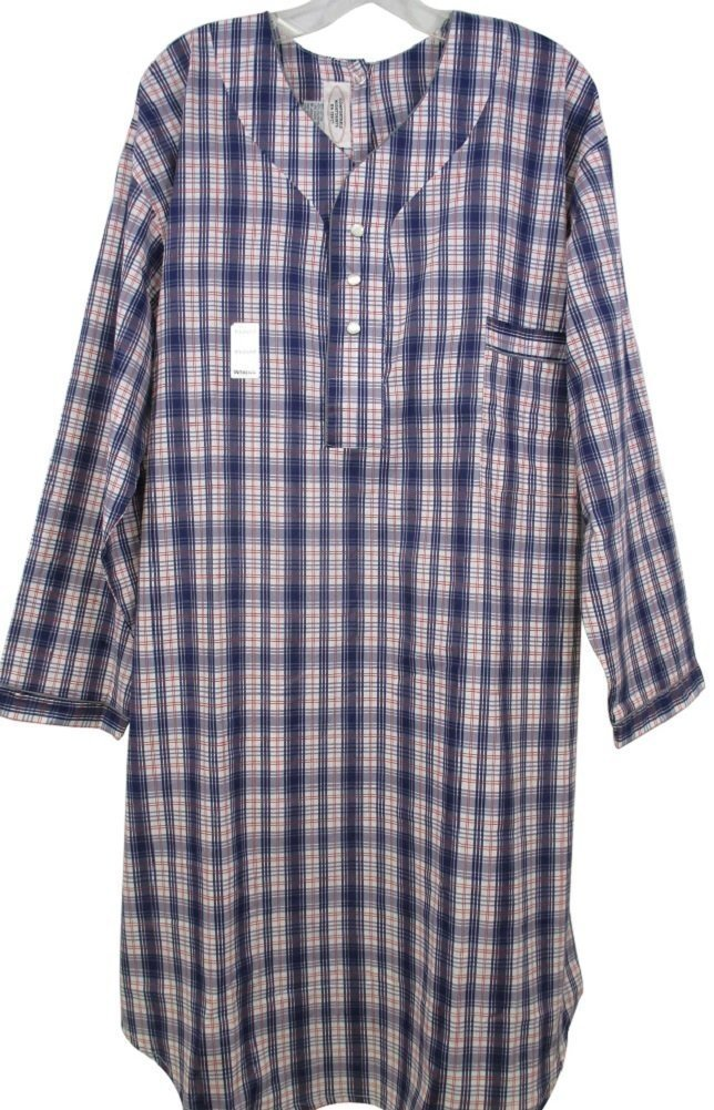 Mens Adaptive Back Snap Nightshirt-Assorted Prints (XL) Benefit Wear