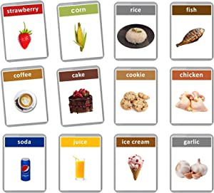 First Foods Flash Cards - 48 Baby Flash Cards | Early Years Learning | Homeschool | Multilingual Flash Cards | English Bilingual Flashcards (Spanish + English)