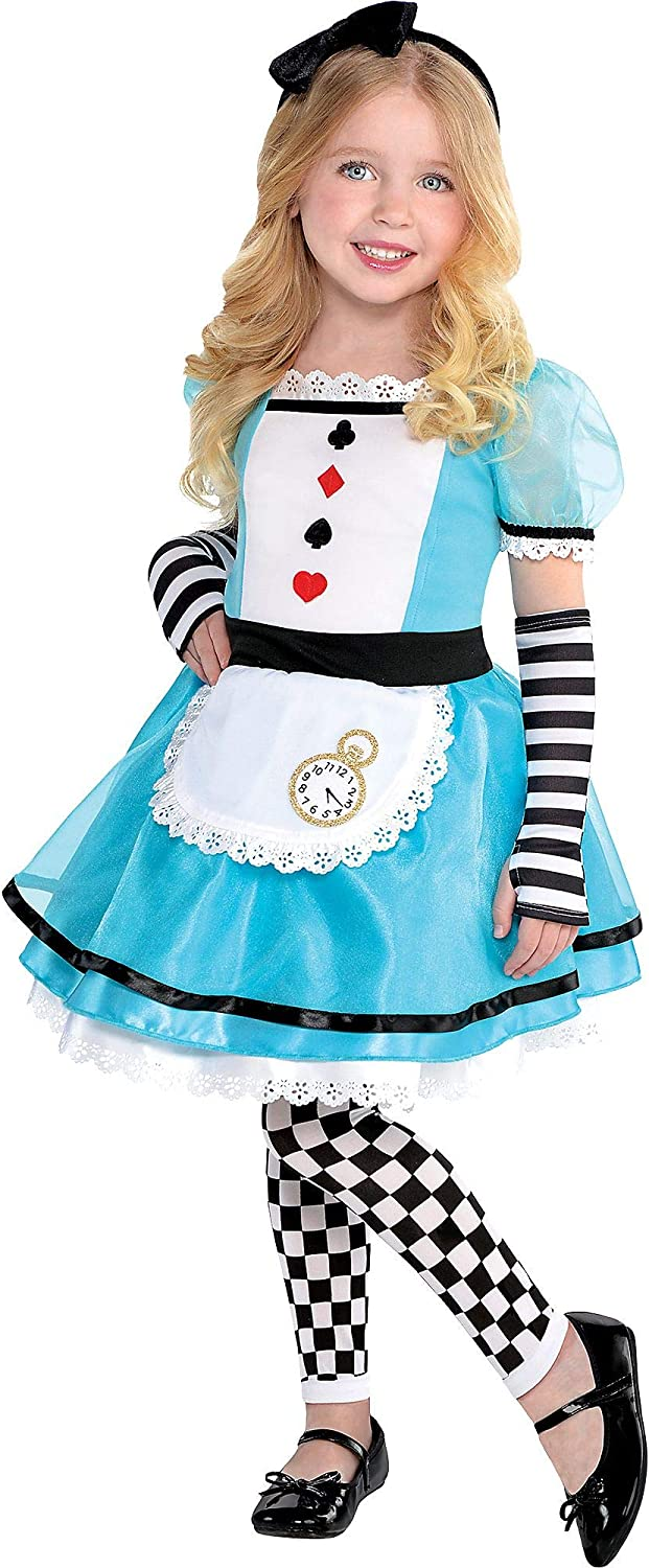 Costumes USA Wonderful Alice Costume for Girls, Size 3-4T, Includes a Dress, Headband, Footless Tights, and Glovelettes 71ioDFLOz3L