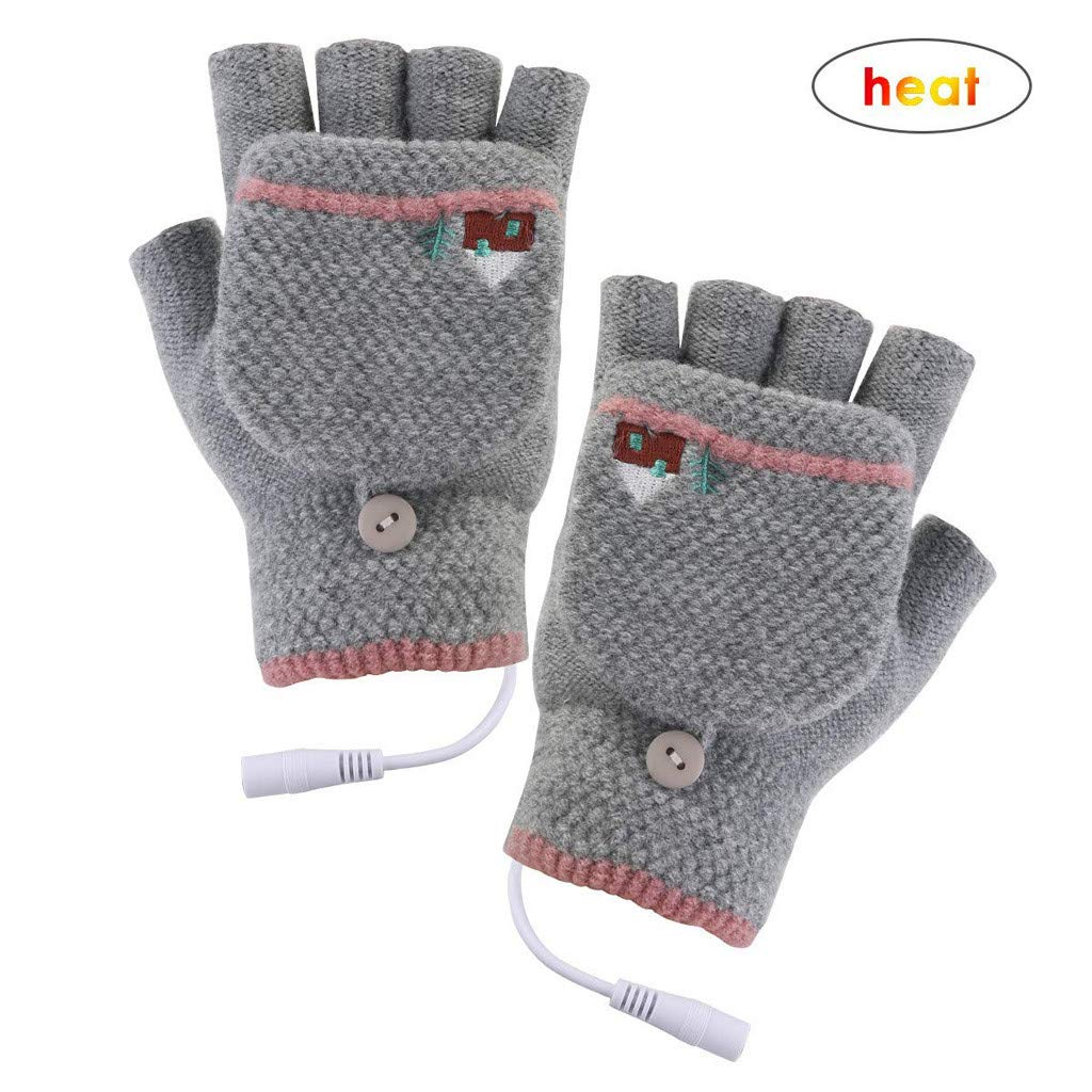 Winter Full /& Half Fingers Warmer Laptop Gloves Mittens for Women Men Girls Boys Panpany Unisex USB Heated Gloves Best Winter Gift Choice