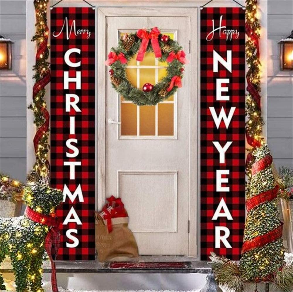 Outdoor Christmas Decorations for Home Modern Farmhouse Decor MERRY CHRISTMAS HAPPY NEW YEAR Rustic Xmas Banners for Indoor Outside Front Door Living Room Kitchen Wall Party (Red Buffalo Check Plaid)