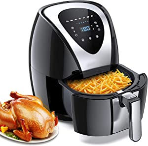 WWYM Nonstick pan Intelligent Air Fryer, 5.5L Healthy and Oil-Free Cooking, Adjustable Temperature Control, with Digital Touchscreen, for 2-7 People Use,Black