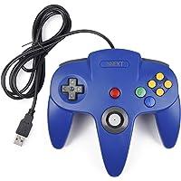 iNNEXT Manette de Jeu 64 N64 USB Classique Gamepad Joystick pour Windows PC Mac (Bleu 1 x Pack)