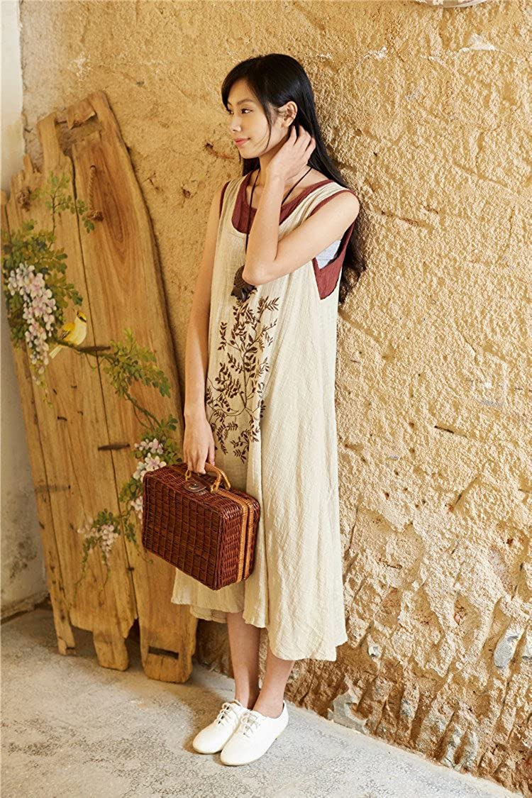 Enlishop Womens Folk Style Embroidery Sleeveless Linen Loose Maxi Dress Brown