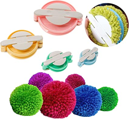 Pom pom Maker Ball Weave Needle Knitting Craft Wool Ball DIY Tools Set 4 Sizes Fluff Ball Weaver Maker