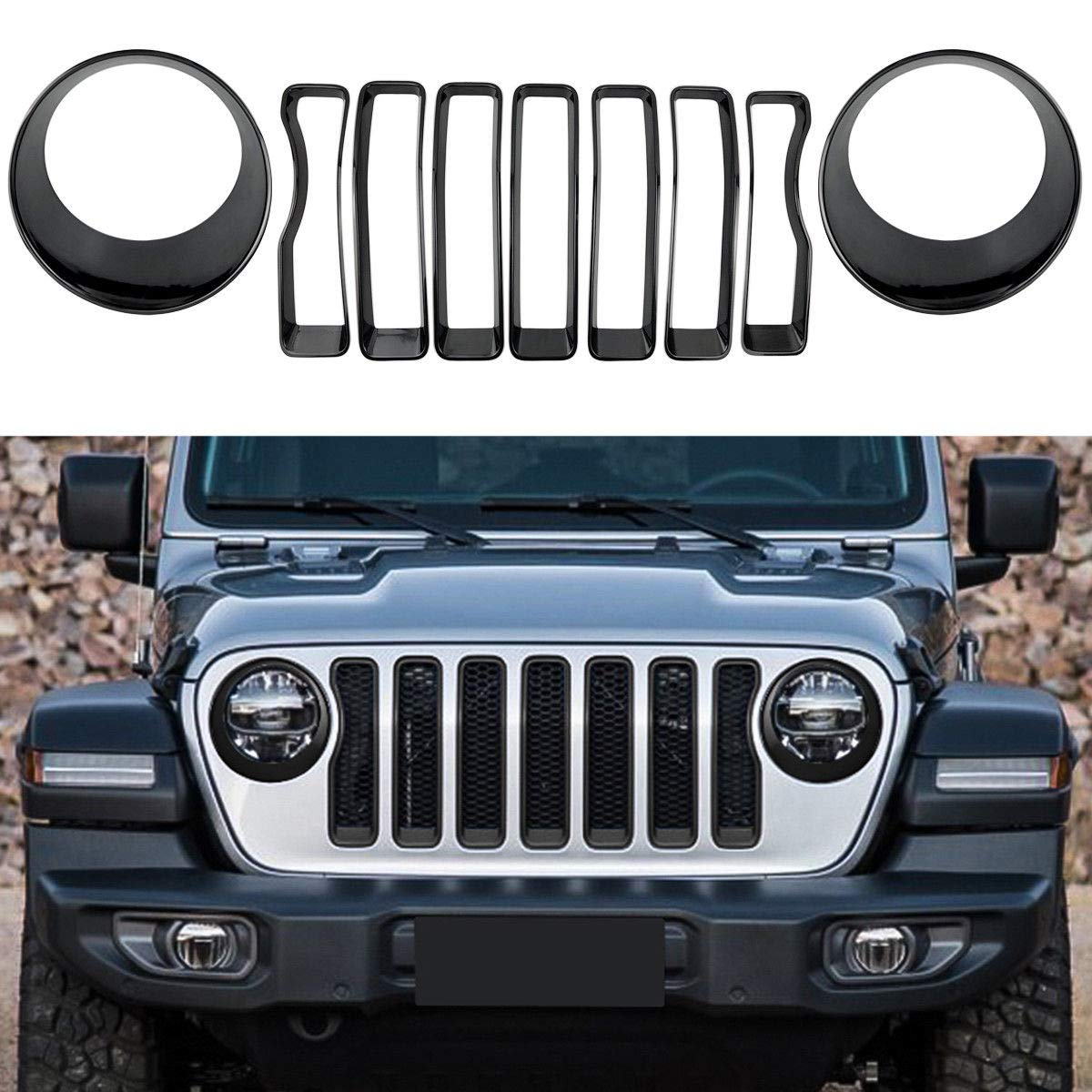 Silver Front Grille Grill Inserts /& Headlight Covers Trim for 2018 Jeep wrangler JL Pack of 9