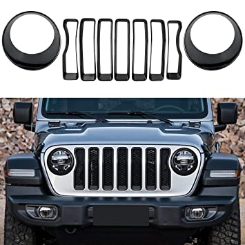 Pack of 9 Black Front Grille Grill Inserts /& Headlight Covers Trim for 2018 Jeep wrangler JL Sport//Sport S