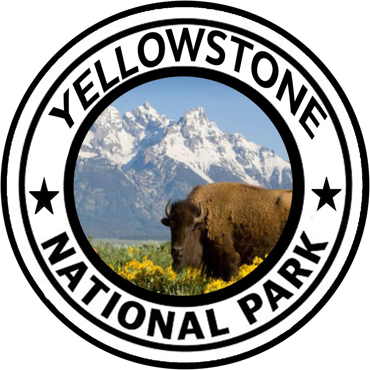 Rogue River Tactical Yellowstone National Park Sticker 5 Round Car Auto Decal