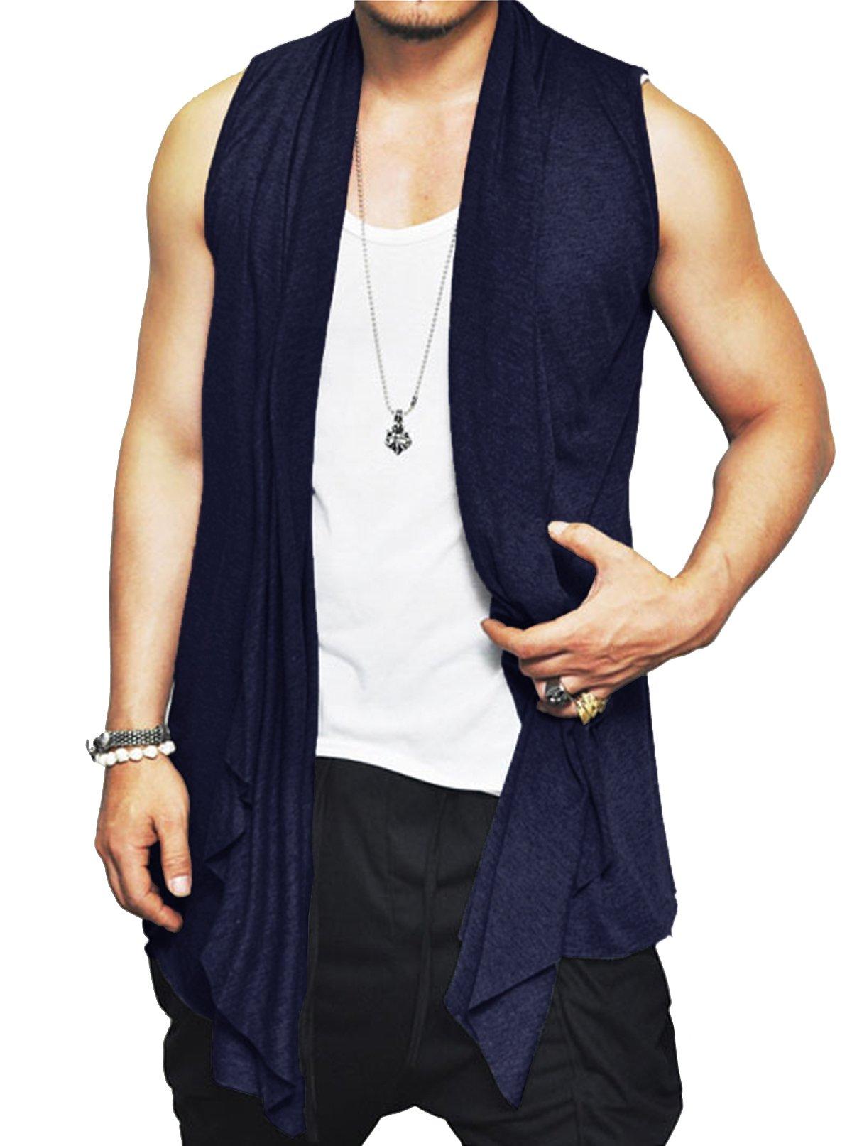 Jinidu Men's Ruffle Shawl Collar Cutoff Shirring Sleeveless Long Cardigan Vest (XX-Large, Navy Blue)