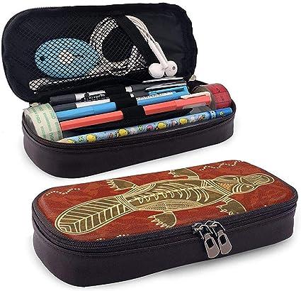 Estuche de lápices de cuero tribal de ornitorrinco y pez lindo - Estuche de lápiz Organizador de papelería Bolsa de maquillaje, soporte perfecto: Amazon.es: Oficina y papelería