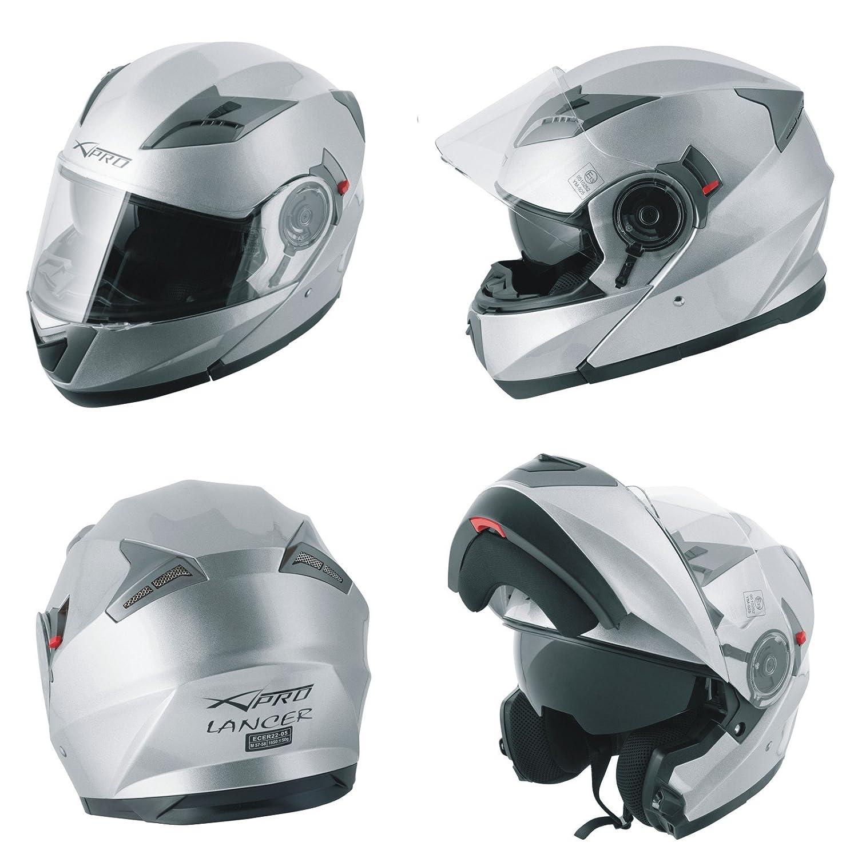 Casco Modulare Apribile Moto Touring Sport Visiera Parasole Argento XL A-PRO 5180000086503