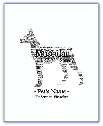 Doberman pinscher Doberman gifts Doberman art Dog mom Dog dad Dog pet memorial Wall art Print Custom pet portrait Personalized gift