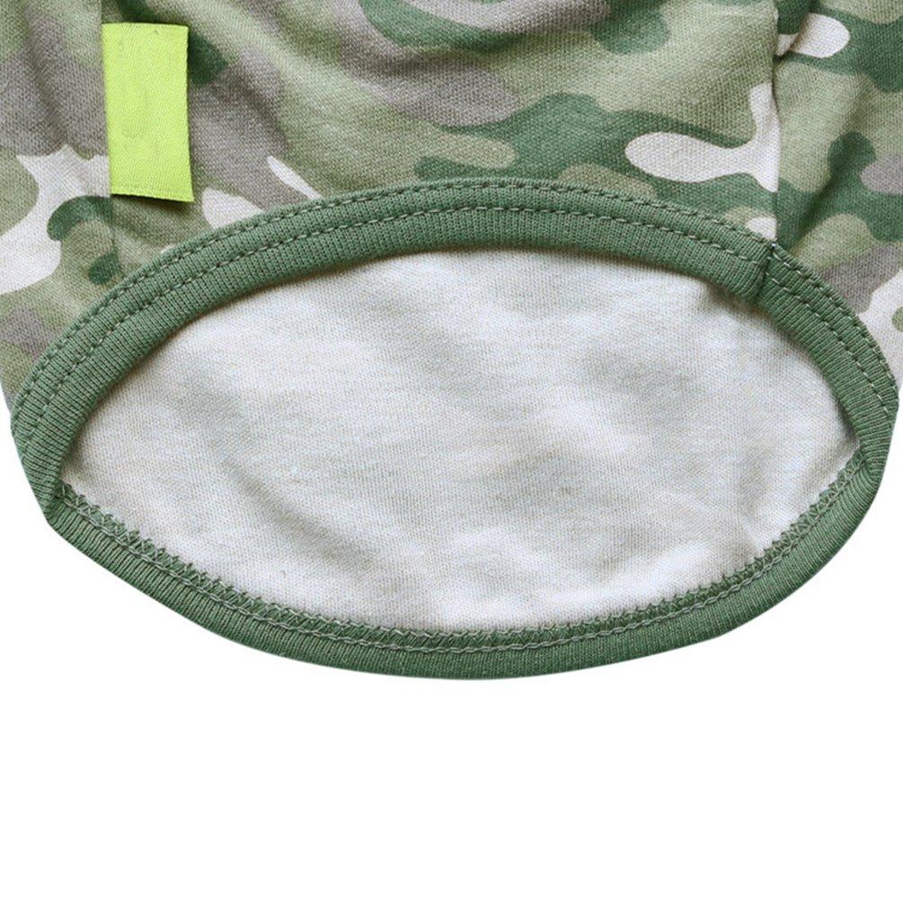 YiJee Camuffare Gilet del Cane Traspirante T-Shirt Abbigliamento per Cucciolo Come immagine1 XS