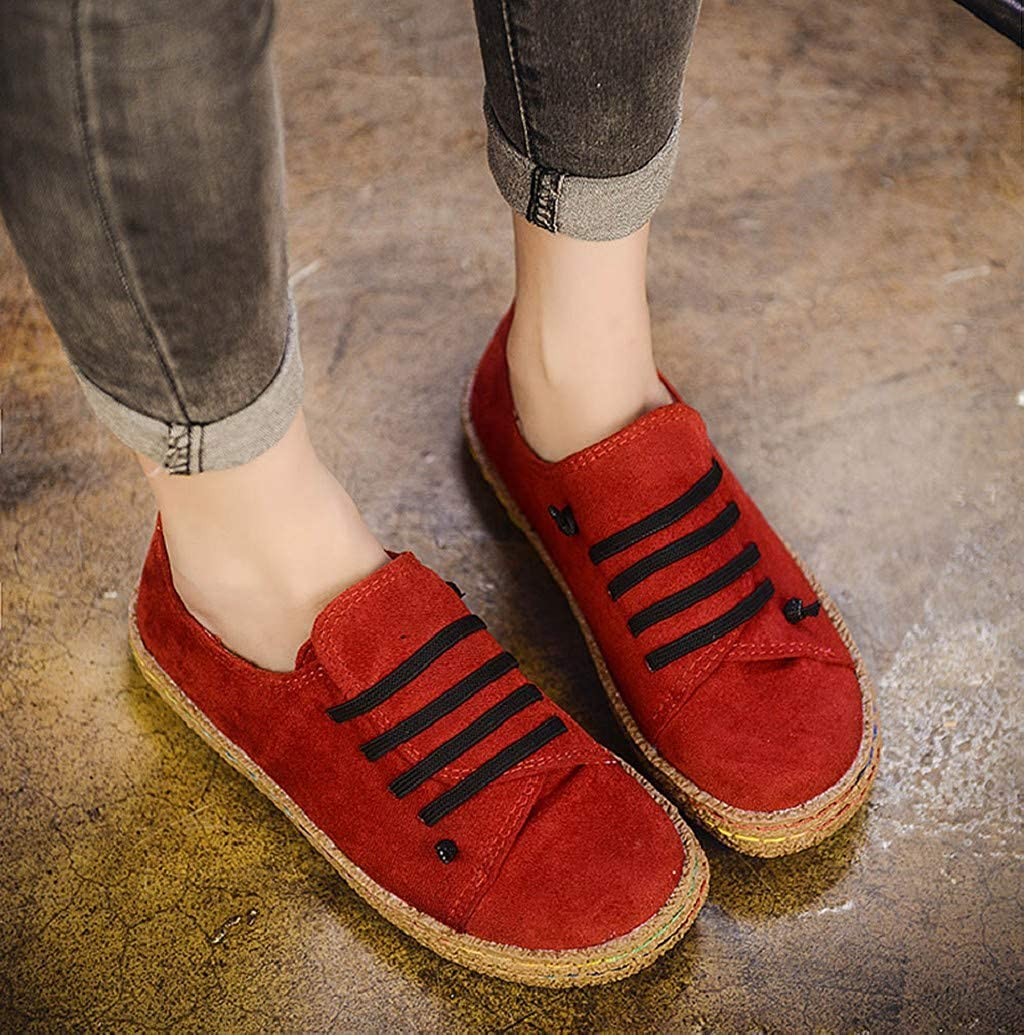 2019 Vintage Wide Width Suede Low Top Clog Sneakers Loafers Daily Walking Shoes by Nevera Women Retro Flats Shoes