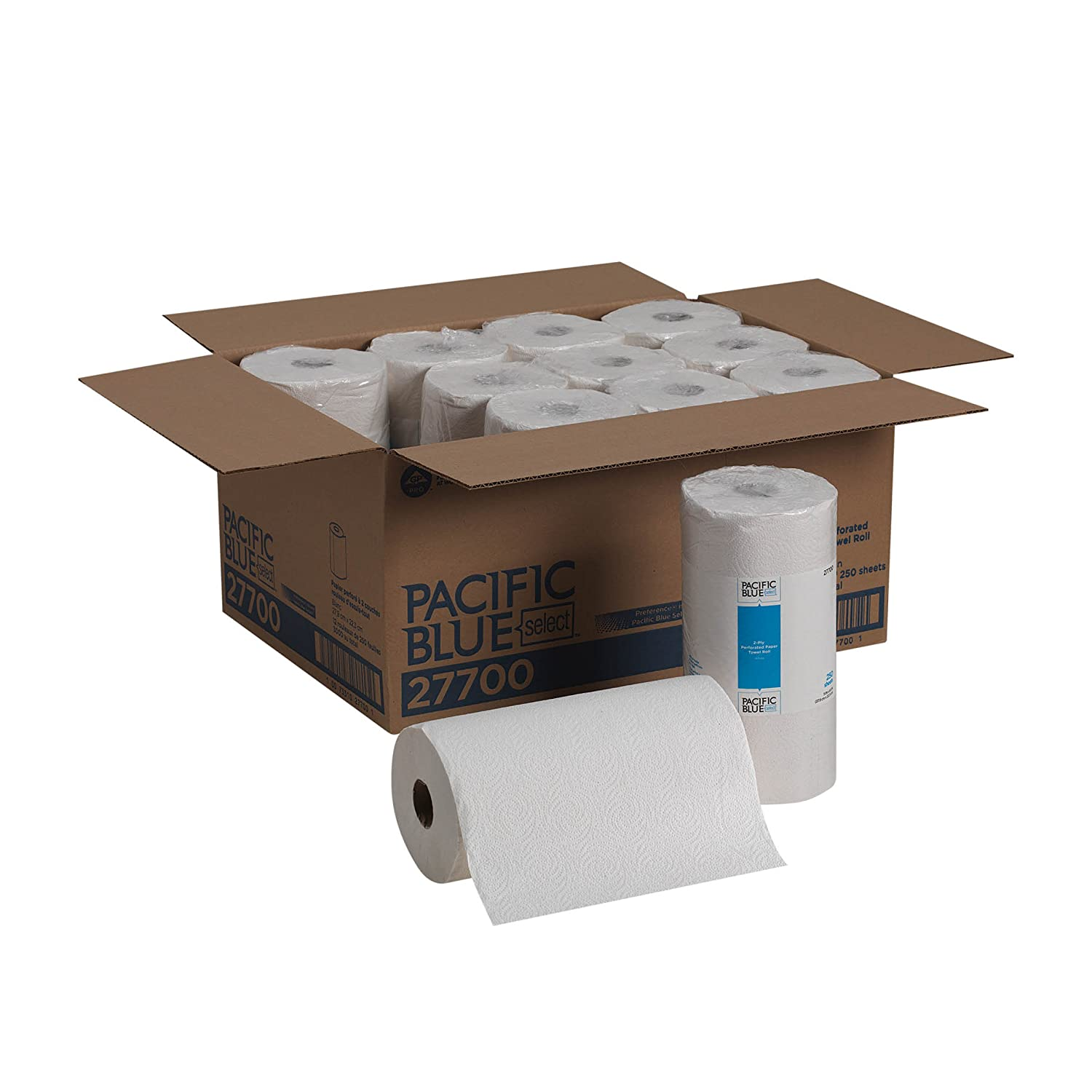 Pacific Blue Select 2 Ply Perforated Roll Towel Previously Branded Preference by GP PRO White 27700; 250 Sheets Per Roll 12 Rolls Per Case
