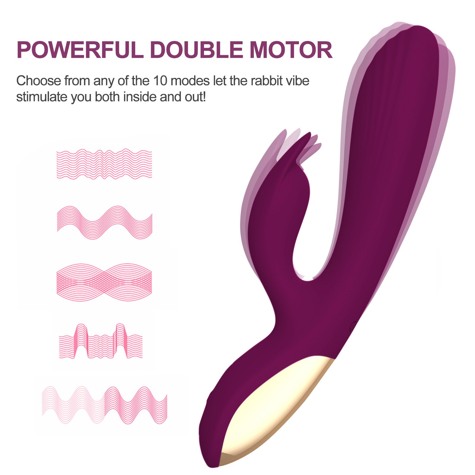 Silicone Rabbit G-Spot Vibrator, Tracy\'s Dog 10 Speed Waterproof Vibrating Massager Rechargeable Vagina Clitoral Stimulator Adult Sex Toy for Women Lesbian