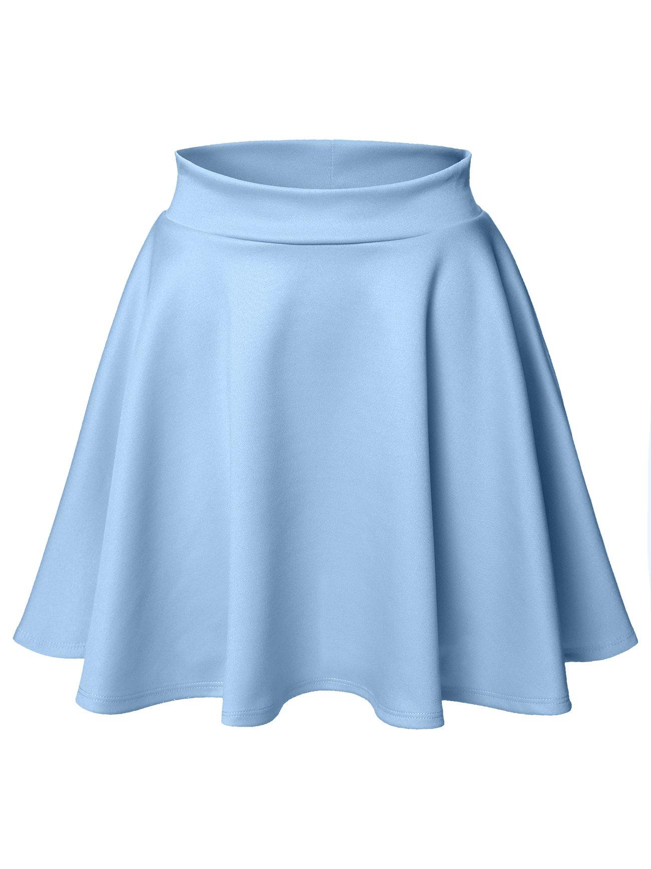 Luna Flower Women's Basic Versatile Stretchy Flared Skater Skirt Light_Blue Medium (LFWSK0009)