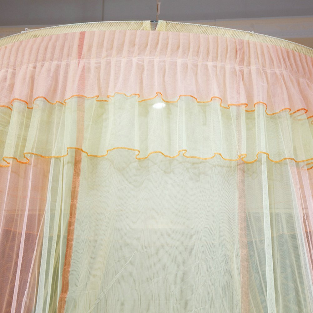 1.5M Bean Sand+Yellow TYMX Mosquito Net Canopy Insect Netting Princess Butterfly Dome Bed Lace Tents Diameter 1.5M Adult Baby Kids Bedroom Games Anti-Mosquito And Insect-Proof Mosquito Nets Fit Crib Twin Full Large Bed