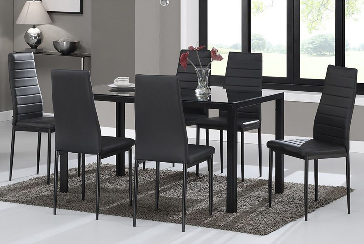 Prime Warmiehomy Dining Table Chairs Glass Dining Table Set And 6 Faux Leather Chairs Black Dining Table With 6 Chairs Download Free Architecture Designs Scobabritishbridgeorg