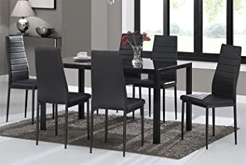 Warmiehomy Dining Table Chairs Glass Dining Table Set And 6 Faux Leather Chairs Black Dining Table With 6 Chairs