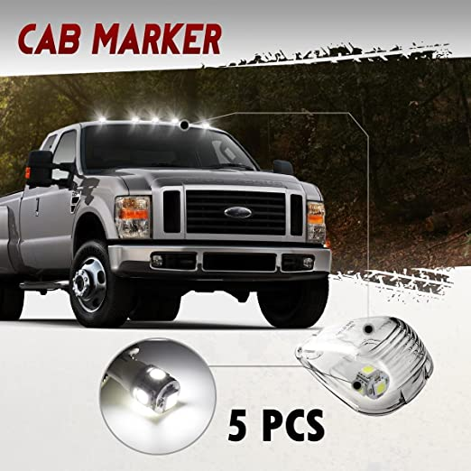 5x Smoke Roof Running Lights Cab Marker Cover+Free Bulb for 1999-2016 Ford F-250
