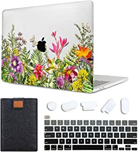 MAITTAO 4 in 1 Newest MacBook Pro 13 inch Case Model A2289 / A2251 (2020 Release), Plastic Pattern Hard Shell Case & Laptop Sleeve Bag & Keyboard Skin Cover for Mac Pro 13 Inch Touch Bar, Flower 17